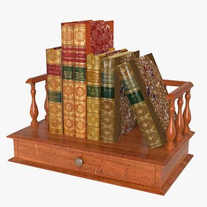 3D Antique Bookstand with Bookset