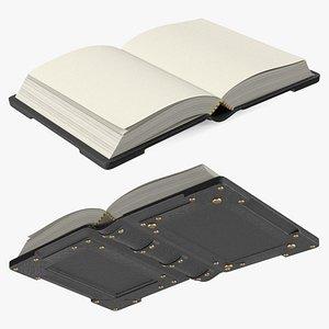 3D Old Ornate Open Book Black Leather model