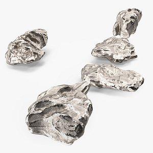 3D Silver Natural Minerals Small Stones