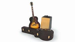 Acoustic Pack - Gibson SJ-200, Cajon, Tambourine 3D model