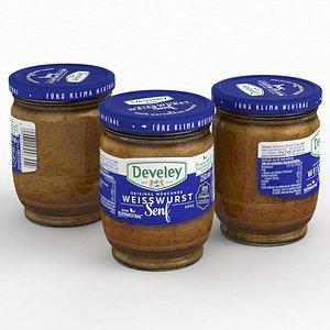 Food Jar Develey Weisswurst Mustard 250ml 2021 3D model