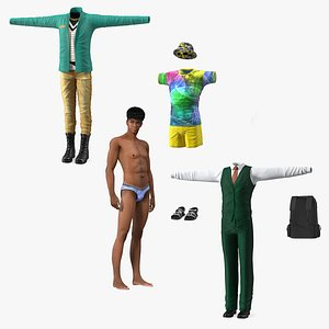 3D Teenage Boy Rigged with Clothing Collection model
