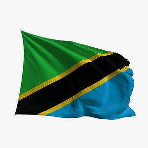 Realistic Animated Flag - Microtexture Rigged - Put your own texture - Def Tanzania 3D