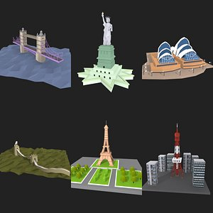 3D low poly landmark collection model