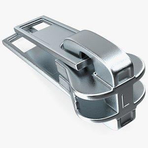 3D Two Sided Zipper Slider Metal model