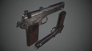 3D steyr hahn m1912 pistol gun