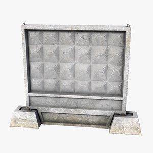 3D model fence panel concrete po-2m