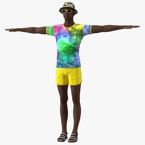 3D Dark Skin Teenager Beach Style T Pose model