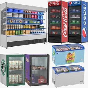 Supermarket Refrigerator Collection 3D
