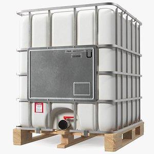 3D IBC Fluid Container 1000 Litre Wooden Pallet