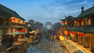 Ancient commercial street market Tang Dynasty ancient town pedestrian street Song City restaurant in 3D model