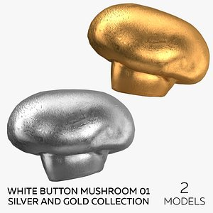 3D White Button Mushroom 01 Silver and Gold Collection - 2 models model