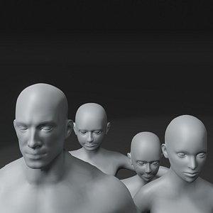 3D Human Body Base Mesh 10 3D Models Pack 10k Polygons