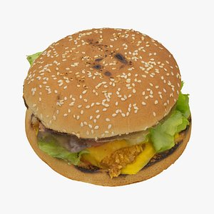 chicken burger 01 raw 3D model
