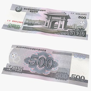North Korea 500 Won Banknote 3D model