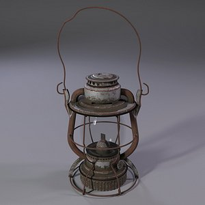3D OLD RUSTED OIL LAMP model
