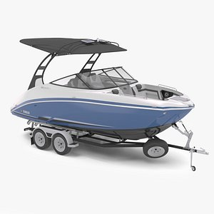 motorboat yamaha 242s boat trailer 3D model