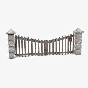 Double Doors Farm Gate with Stone Walls and Post Box - Modular 3D model