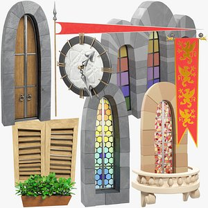 stylized medieval building parts 3D model
