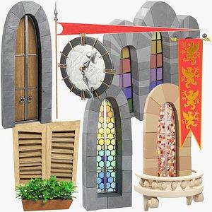stylized medieval building parts 3D model