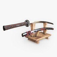 Red O Katana - Authentic Large Samurai Sword with a stand
