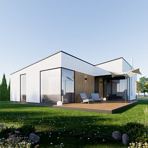 3D House 5 - Created with fully parametric Revit Families