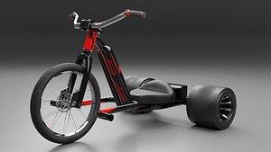 3D model Black Electric Trike Bike