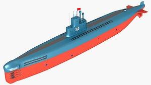 submarine warship ship 3D model