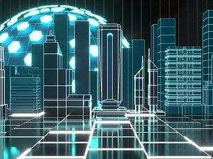 3D Tech line city model