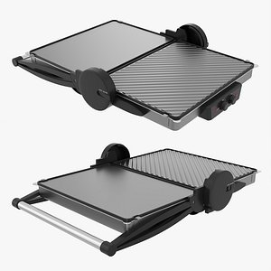 Electric tabletop grill open 3D model
