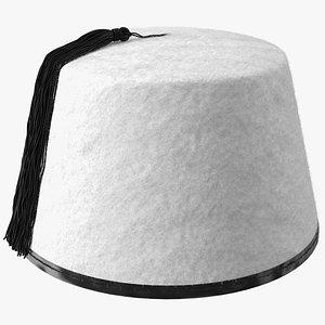 3D traditional arabic white fez