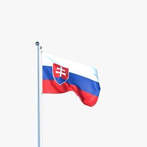 3D Animated Flag of Slovakia model