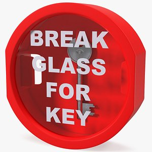 3D break glass key box model