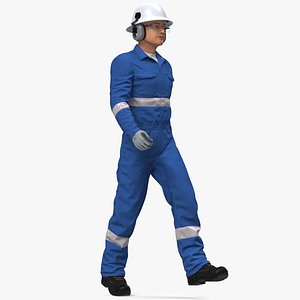 3D Oil Gas Worker Fully Equipped Rigged for Maya model