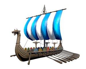 3D pbr ship viking
