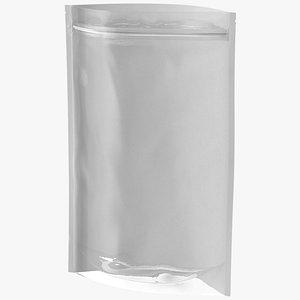 3D Zipper White Paper Bag with Transparent Front 300 g Open Mockup model
