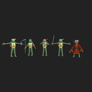 rigged TMNT ninja turtle 3D model