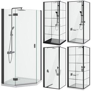 3D Shower cabins Radaway Nes 8 Black set 136