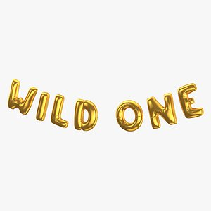 3D Foil Baloon Words Wild One Gold