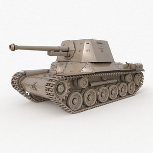 3D Tank Type 3 Ho Ni III Japan Clay Vray model