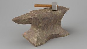 3D model Rusty old anvil with hammer Low-poly 3D model