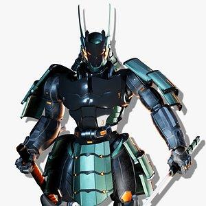 samurai robot character asset 3D
