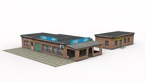 3D model Roadside cafe and tire service