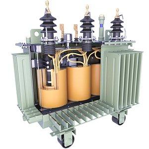 Oil Immersed Transformer Coil Windings Inside 18 3D model