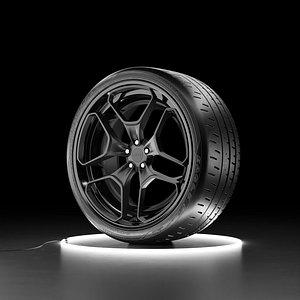 Car wheel Bridgestone Eagle F1 SuperCar 3R tire with Rotiform HUR rim 3D model