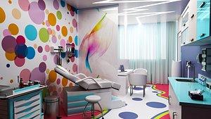 3D doctors office-pediatric clinic interior model
