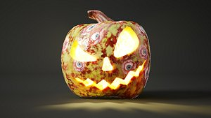 Rigged and animated halloween pumpkin with 4K PBR alien skin 3D model