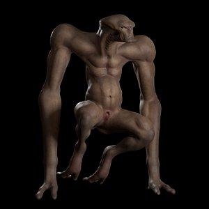 3D model horror monster creature