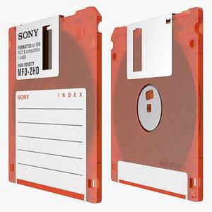 3D Sony MFD 2HD Floppy Diskette Orange model