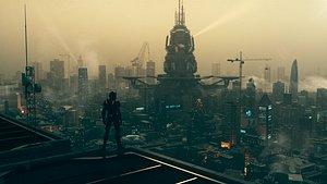 C4D Octane render Cyberpunk city model